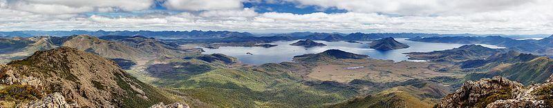 Lake Pedder van Mount Eliza, Zuidwest Nationaal Park, Australië