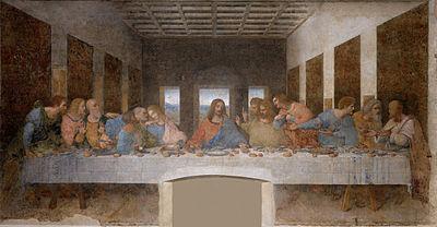 На этой картине изображен Иисус в центре на Тайной Вечере. Она была написана Леонардо да Винчи между 1495 и 1498 годами.