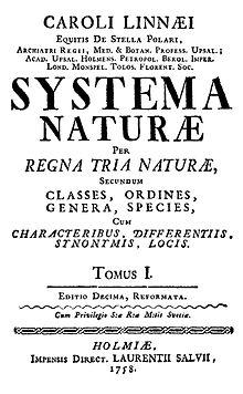 Titelseite des Hauptwerks von Carolus Linnaeus, veröffentlicht 1798. Dieses Werk ist die Grundlage der modernen Taxonomie. Es ist in Latein geschrieben