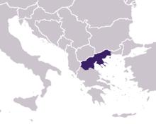 De ligging van Macedonië.