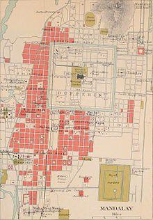 Kaart van Mandalay, 1911