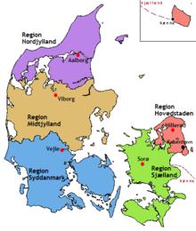 Карта регионов Дании