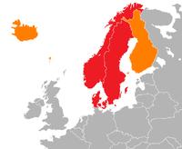 Die häufigste Verwendung: die drei Monarchien Dänemark, Norwegen und Schweden Eine erweiterte Verwendung, einschließlich Finnland, Svalbard, Island, Grönland und die Färöer-Inseln
