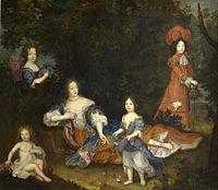 Montespan met haar vier oudste buitenechtelijke kinderen van Lodewijk XIV door een onbekende kunstenaar.