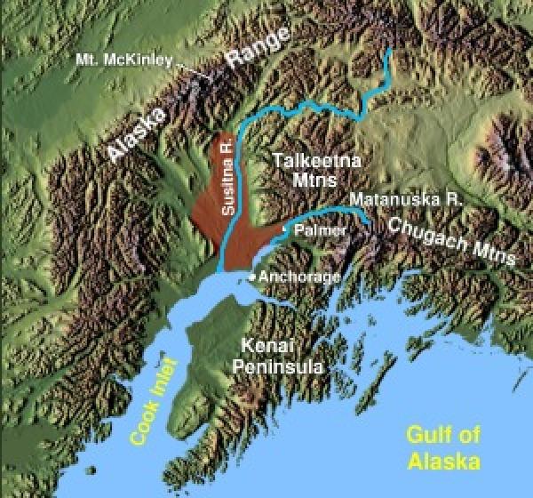 La Valle di Matanuska-Susitna, mostrata in rosso a nord di Anchorage, Alaska