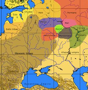 瓦良格人到来时和斯拉夫人殖民前的俄罗斯部落。