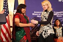 Nadia Sharmeen ontvangt International Women of Courage Awards, mrt 2015.