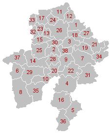 Kaart van de gemeenten van Namen (de namen staan in de volgende tabel)