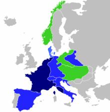 """První francouzské císařství ve svém největším rozsahu v roce 1811 Francouzské císařství Dobyté """"vzpurné"""" státy Dobyté """"spojenecké"""" státy"""