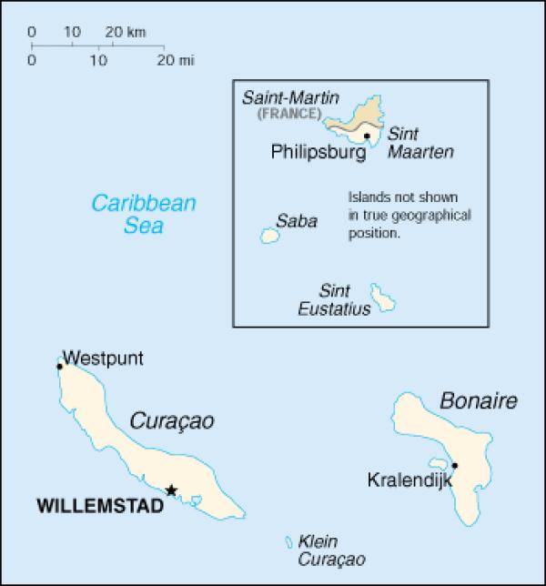 Карта Нидерландских Антильских островов