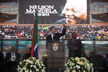 De Amerikaanse president Barack Obama houdt zijn toespraak bij de herdenkingsdienst van Mandela...