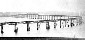 Oorspronkelijke Tay-brug vanuit het noorden