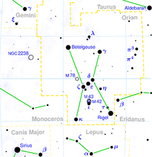 Mapa konstelacji Oriona