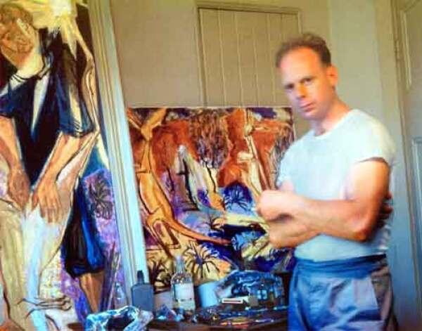 De kunstenaar Peter Graham in zijn atelier