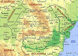 Une carte physique de la Roumanie.