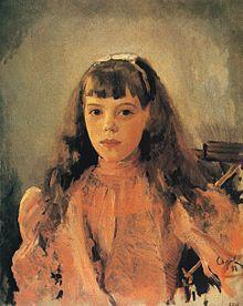 Een portret van Groothertogin Olga Aleksandrovna in 1893 door Valentin Serov.