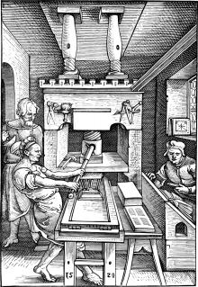 Printers aan het werk in 1520