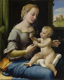 De Madonna met de pinken van Rafaël, geschilderd omstreeks 1506, is een van de laatste belangrijke schilderijen die de National Gallery heeft aangekocht.