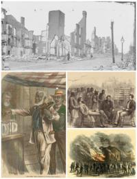 Reconstructie Tijdperk foto, twee Harpers Weekly Reconstructie gerelateerde foto's, en een Freedmen's Bureau foto