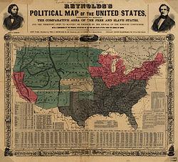 Mapa z 1856 r. przedstawia stany niewolnicze (szare), wolne stany (różowe), terytoria USA (zielone) i Kansas w centrum (białe) z wyraźnie zaznaczonym równoleżnikiem 36°30′ szerokości geograficznej północnej.