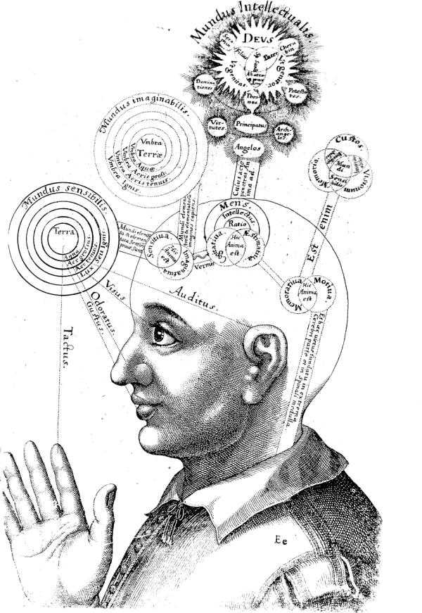 Mensen hebben duizenden jaren lang nagedacht over de aard van intelligentie. Deze foto is afkomstig uit een werk van Robert Fludd dat tussen 1617 en 1621 werd gepubliceerd.