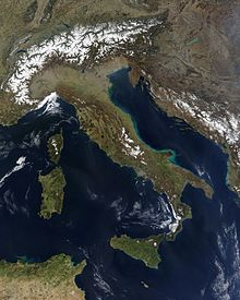 Satellietbeeld van Italië