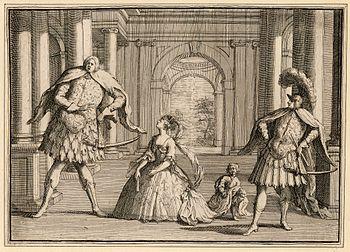 Een karikatuur van een uitvoering van Händels Flavio, met drie van de bekendste operazangers van hun tijd: het castrato Senesino aan de linkerkant, Francesca Cuzzoni in het midden en het castrato Gaetano Berenstadt aan de rechterkant.
