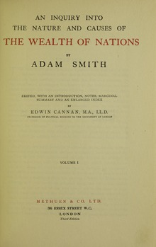 Onderzoek naar de aard en de oorzaken van de rijkdom van de naties , 1922