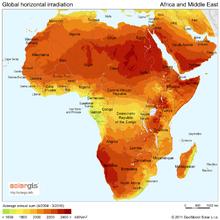 Zonnestraling in Afrika en het Midden-Oosten
