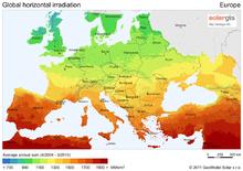 Zonnestralingskaart van Europa
