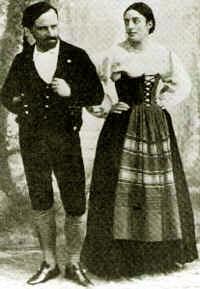 Stagno en Bellincioni als Tiriddu en Santuzza in de eerste voorstelling, 1890