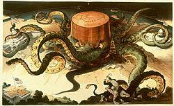 镀金时代的垄断企业无法再通过腐蚀州立法机构(右)来控制美国参议院(左)。