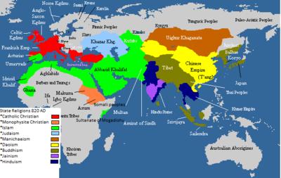 Staatsreligies in 820 AD - Oeigoer Khaganate is Manichaean
