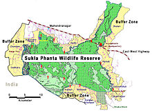 Kaart van Sukla Phanta Wildlife Reserve en Bufferzone, Nepa