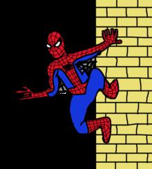 Jedná se o kreslený obrázek Spider-Mana držícího se zdi, který byl nakreslen v programu MS Paint.