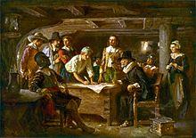 Firma del Mayflower Compact 1620 , un dipinto di Jean Leon Gerome Ferris 1899