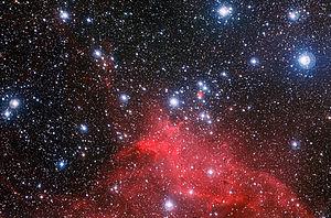 Sterrencluster NGC 3572 en zijn omgeving.