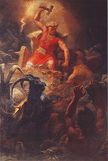 Thor, Germaanse dondergod. De hamer wordt geassocieerd met de bliksemschicht. Schilderij van Mårten Eskil Winge, ca. 1872.