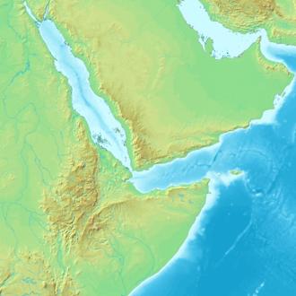 Mapa topográfico mostrando o Triângulo Afar, que se correlaciona com a área sombreada no mapa de localização mostrado acima