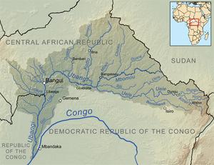 Kaart van het afwateringsgebied van de Ubangi-rivier.