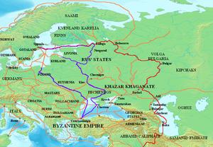 Mappa che mostra le principali rotte commerciali varangiane: la via commerciale del Volga (in rosso) e la via commerciale dai varangiani ai greci (in viola). Altre rotte commerciali dell'VIII-IV secolo mostrate in arancione.