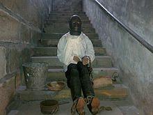 Dummy van de man die enkele jaren gevangen zat in het kasteel van Vaux le Vicomte.