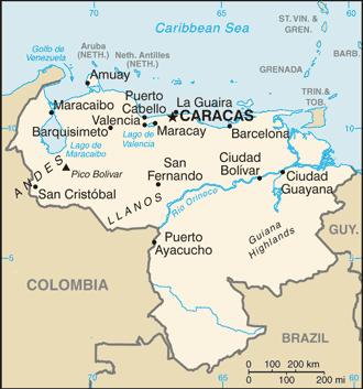An enlargeable basic map of Venezuela