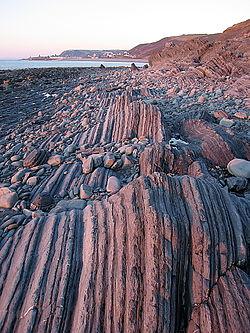 Overblijfselen van de orogenese bij Aberystwyth, Wales